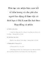 Thủ tục xác nhận bản cam kết về tiền lương và cho phí cho người lao động đi làm việc có thời hạn ở Đài Loan lần hai theo Hợp đồng cá nhân doc