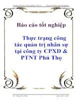 Báo cáo tốt nghiệp Thực trạng công tác quản trị nhân sự tại công ty CPXD  PTNT Phú Thọ