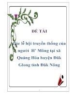 Tiểu luận: Các lễ hội truyền thống của người H' Mông tại xã Quảng Hòa huyện Đăk Glong tỉnh Đăk Nông docx