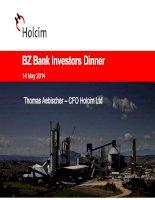 bz bank investors dinner 14 may 2014 thomas aebischer cfo holcim ltd