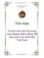 Tiểu luận: Vai trò của Liên Xô trong cuộc kháng chiến chống Mỹ cứu nước của nhân dân Việt Nam pdf