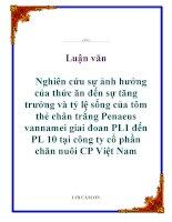 Luận văn: Nghiên cứu sự ảnh hưởng của thức ăn đến sự tăng trưởng và tỷ lệ sống của tôm thẻ chân trắng Penaeus vannamei giai đoan PL1 đến PL 10 tại công ty cổ phần chăn nuôi CP Việt Nam doc