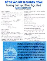 Đề thi tuyển sinh vào lớp 10 chuyên toán trường Đại học khoa học Huế môn toán học pptx
