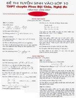 Đề thi tuyển sinh vào lớp 10 THPT chuyên Phan Bội Châu môn toán học pps