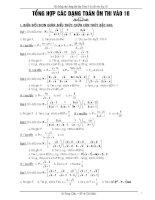 Tổng hợp các dạng toán ôn thi vào lớp 10 ppt