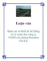 Đề tài: Khảo sát và thiết kế hệ thống xử lý nước thải công ty TNHH mía đường Bourbon Gia Lai pps