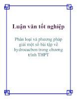Luận văn tốt nghiệp: Phân loại và phương pháp giải một số bài tập về hydrocacbon trong chương trình THPT pptx