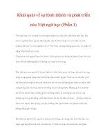 LƯỢC SỬ VIỆT NGỮ HỌC - Khái quát về sự hình thành và phát triển của Việt ngữ học (Phần 1) ppt