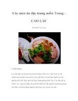Các món ăn đặc trưng miền Trung - CAO LẦU pdf