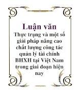 Luận văn Thực trạng và một số giải pháp nâng cao chất lượng công tác quản lý tài chính BHXH tại Việt Nam trong giai đoạn hiện nay