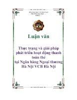 Luận văn Thực trạng và giải pháp phát triển hoạt động thanh toán thẻ tại Ngân hàng Ngoại thương Hà Nội VCB Hà Nội