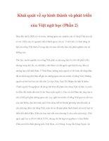 LƯỢC SỬ VIỆT NGỮ HỌC - Khái quát về sự hình thành và phát triển của Việt ngữ học (Phần 2) doc
