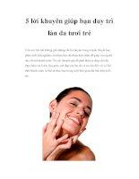 5 lời khuyên giúp bạn duy trì làn da tươi trẻ potx