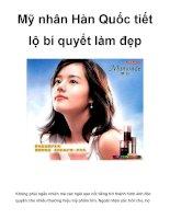 Mỹ nhân Hàn Quốc tiết lộ bí quyết làm đẹp pdf