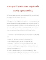 LƯỢC SỬ VIỆT NGỮ HỌC - Khái quát về sự hình thành và phát triển của Việt ngữ học (Phần 3) pdf