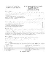 Đề thi và đáp án thi học sinh giỏi môn vật lý khối 6 và 7 năm 2014