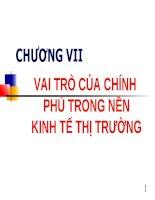 CHƯƠNG VII VAI TRÒ CỦA CHÍNH PHỦ TRONG NỀN KINH TẾ THỊ TRƯỜNG pps