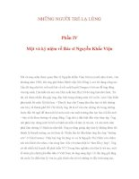 NHỮNG NGƯỜI TRẺ LẠ LÙNG Phần IV : Một và kỷ niệm về Bác sĩ Nguyễn Khắc Viện pot