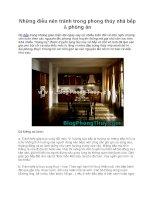 Những điều nên tránh trong phong thủy nhà bếp & phòng ăn pdf