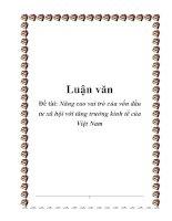 Luận văn Nâng cao vai trò của vốn đầu tư xã hội với tăng trưởng kinh tế của Việt Nam