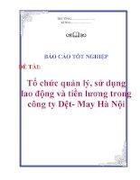 Báo cáo tốt nghiệp: Tổ chức quản lý, sử dụng lao động và tiền lương trong công ty Dệt- May Hà Nội pptx