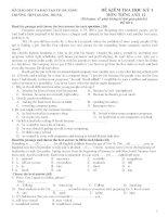 ĐỀ KIỂM TRA HỌC KỲ 1 MÔN: TIẾNG ANH 12 - ĐỀ SỐ 2 potx