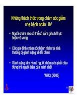 Bài giảng điều trị HIV - Chăm sóc giảm nhẹ cho bệnh nhân HIV/AIDS part 3 docx
