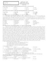 KIỂM TRA 1 TIẾT MÔN: TIẾNG ANH 12 - Mã đề: 001 docx