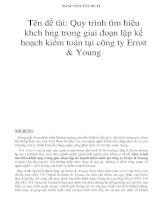 Tên đề tài: Quy trình tìm hiểu khch hng trong giai đoạn lập kế hoạch kiểm toán tại công ty Ernst & Young pot