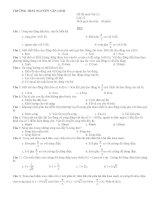 Đề thi môn:Vật Lý Lớp 12 - TRƯỜNG THPT NGUYỄN VĂN LINH pptx