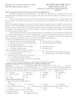 ĐỀ KIỂM TRA HỌC KỲ 2 MÔN: TIẾNG ANH 12 - ĐỀ SỐ 2 pot