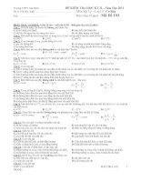 ĐỀ KIỂM TRA HỌC KỲ II Năm Học 2011 - Mã Đề 103 potx