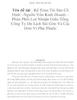 BẢNG TÓM TẮT ĐỀ TÀI Tên đề tài : Kế Tóan Tài Sản Cố Định –Nguồn Vốn Kinh Doanh – Phân Phối Lợi Nhuận Giữa Tổng Công Ty Du Lịch Sài Gòn Và Các Đơn Vị Phụ Thuộc doc