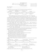 ĐỀ THI HỌC KỲ I MÔN: ANH VĂN LỚP 12 - Mã đề thi 111 pot