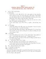 Giáo án Lịch Sử 8: BÀI 7 : PHONG TRÀO CÔNG NHÂN QUỐC TẾ CUỐI THẾ KỈ XIX_ ĐẦU THẾ KỈ XX pps