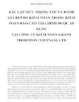 BẢNG TÓM TẮT ĐỀ TÀI XÁC LẬP MỨC TRỌNG YẾU VÀ ĐÁNH GIÁ RỦI RO KIỂM TOÁN TRONG KIỂM TOÁN BÁO CÁO TÀI CHÍNH ĐƯỢC ÁP DỤNG TẠI CÔNG TY KIỂM TOÁN GRANT THORNTON (VIETNAM) LTD doc