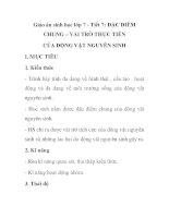 Giáo án sinh học lớp 7 - Tiết 7: ĐẶC ĐIỂM CHUNG – VAI TRÒ THỰC TIỄN CỦA ĐỘNG VẬT NGUYÊN SINH potx