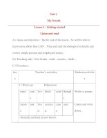 Giáo án Tiếng Anh lớp 8: Unit 1 My friends Lesson 1 : Getting started Listen and read pdf