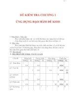 Giáo án Toán 12 ban cơ bản : Tên bài dạy : ĐỀ KIỂM TRA CHƯƠNG 1 ỨNG DỤNG ĐẠO HÀM ĐỂ KSHS ppsx