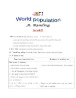 Giáo án Tiếng Anh lớp 11: UNIT 7: WORLD POPULATION-READING ppt