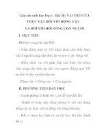 Giáo án sinh học lớp 6 - Bài 48: VAI TRÒ CỦA THỰC VẬT ĐỐI VỚI ĐỘNG VẬT VÀ ĐỐI VỚI ĐỜI SỐNG CON NGƯỜI pptx