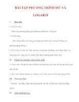 Giáo án Toán 12 ban cơ bản : Tên bài dạy : BÀI TẬP PHƯƠNG TRÌNH MŨ VÀ LOGARIT pptx