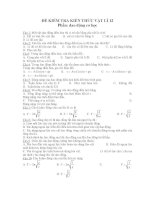 ĐỀ KIỂM TRA KIẾN THỨC VẬT LÍ 12 Phần: dao động cơ học ppsx