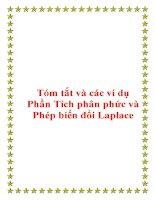 Tóm tắt và các ví dụ Phần Tích phân phức và Phép biến đổi Laplace ppt