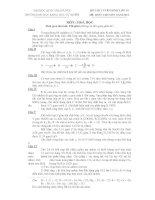 ĐỀ THI TUYỂN SINH LỚP 10 HỆ THPT CHUYÊN NĂM 2011 MÔN : HOÁ HỌC pptx