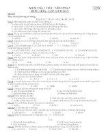 KIỂM TRA 1 TIẾT – CHƯƠNG 3 MÔN : HÓA - ĐỀ BÀI 1259 pps