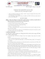 Công ty Cổ phần XNK thủy sản Bến Tre - Nghị quyết hội đồng quản trị docx