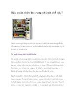 Bảo quản thức ăn trong tủ lạnh thế nào? docx