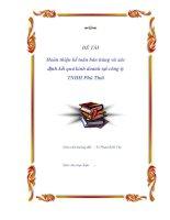 """Luận văn """"Hoàn thiện kế toán bán hàng và xác định kết quả kinh doanh tại công ty TNHH Phú Thái"""" ppsx"""