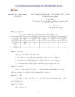 Các đề thi học sinh giỏi môn địa lí lớp 9 cấp tỉnh ( kèm đáp án)